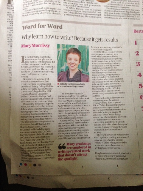 Word for Word by Mary Morrissey. Irish Times Feb 28, 2015